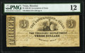 Houston, TX- Government of Texas $3 Apr. 1, 1838 Cr. H15 PMG Fine 12