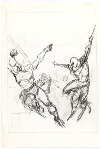 John Buscema Marvel Treasury Edition #28 Superman and Spider-Man Cover Layout Preliminary Or