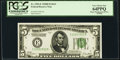 Minor Shifted Third Printing Error Fr. 1952-E $5 1928B Dark Green Seal Federal Reserve Note. PCGS Very Choice New 64PPQ...