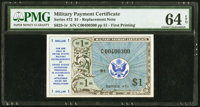 Series 472 $1 First Printing Replacement PMG Choice Uncirculated 64 EPQ