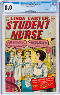 Linda Carter, Student Nurse #9 (Atlas, 1963) CGC VF 8.0 Off-white pages