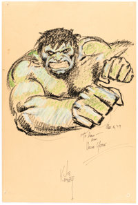 Joe Kubert - Hulk Sketch Original Art (1979)