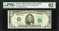 Low Serial Number 49 Fr. 1974-F $5 1977 Federal Reserve Note. PMG Uncirculated 62 EPQ