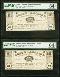 (Hertford), NC- Perquimans County $1 Apr. 25, (18)62 Two Examples PMG Choice Uncirculated 64 EPQ