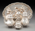 Silver & Vertu, A Five-Piece German 800 Silver Tea and Coffee Set Including Tray, Berlin, early 19th century. Marks: (crescent-crow...