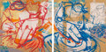Paintings, Mr. Jago (b. 1972). Untitled, diptych, early 21st century. Acrylic on particle board. 24 x 48 inches (61 x 121.9 cm) . S... (Total: 2 Items)