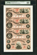 Obsoletes By State:Pennsylvania, Erie, PA- Bank of Commerce $5-$5-$5-$10 18__ G2b-G2b-G2b-G4b Uncut Proof Sheet PMG Superb Gem Unc 68 EPQ.. ...