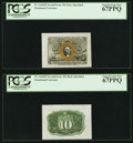 Fr. 1244SP 10¢ Second Issue Wide Margin Pair PCGS Superb Gem New 67PPQ. ... (Total: 2 notes)