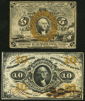 Fr. 1232SP 5¢ Second Issue New; Fr. 1253SP 10¢ Third Issue New. ... (Total: 2 notes)
