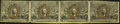 Fr. 1232 5¢ Second Issue Uncut Horizontal Strip of Four Very Fine