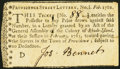 Providence Street Lottery, No. 1 Feb. 1761 Very Fine-Extremely Fine
