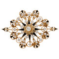 Estate Jewelry:Brooches - Pins, Diamond, Black Enamel, Gold Pendant-Brooch. ...