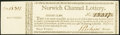 Connecticut - Norwich Channel Lottery Half Ticket Second Class with full Stub ND circa 1780 Very Fine-Extremely Fine...