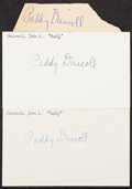 Autographs:Index Cards, Paddy Driscoll Signed Cuts, Lot of 3....