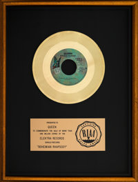 "Queen ""Bohemian Rhapsody"" 13"" x 17"" RIAA Floater Gold Sales Award Presented to Band (Elektra, 1975)..."