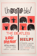 """Music Memorabilia:Posters, The Beatles Combo """"A Hard Day's Night / Help!"""" Un-Beatle-ble Promo Poster (United Artists, 1965). ..."""