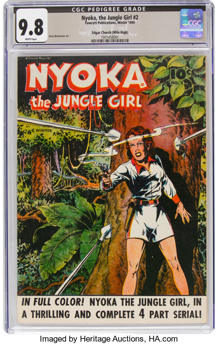 Nyoka the Jungle Girl #2 Mile High Pedigree (Fawcett Publications, 1945) CGC NM/MT 9.8 White pages....