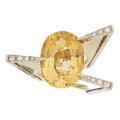 Estate Jewelry:Rings, Citrine, Diamond, Gold Ring . ...