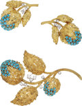 Estate Jewelry:Suites, Diamond, Turquoise Gold Jewelry Suite, Kurt Gutmann