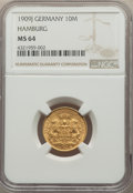 German States:Hamburg, German States: Hamburg. Free City gold 10 Mark 1909-J MS64 NGC,...