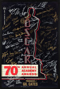 Movie/TV Memorabilia:Autographs and Signed Items, The Oscars Signed Poster From the 70th Annual Academy Awards With Signatures and Inscriptions to Producer Gil Cates From Celeb...
