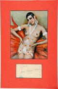 Movie/TV Memorabilia:Autographs and Signed Items, Josephine Baker Signature Matted in a Framed Display....