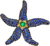 Sapphire, Emerald, Diamond, Platinum, Gold Brooch, Schlumberger for Tiffany & Co., French