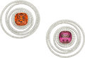 Estate Jewelry:Earrings, Garnet, Diamond, Platinum Earrings, Tiffany & Co. . ...