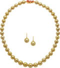 Estate Jewelry:Suites, South Sea Cultured Pearl, Diamond, Enamel, Gold Jewelry Suite, Mikimoto. ... (Total: 2 Items)