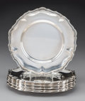 Silver & Vertu, A Set of Eight Camusso Silver Bread and Butter Plates