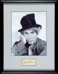 Movie/TV Memorabilia:Autographs and Signed Items, Harpo Marx Signature Matted and Framed With Promo Photo....