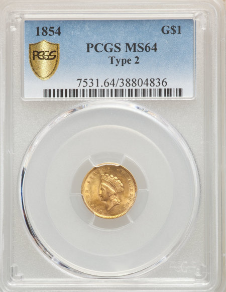 1854 G$1 Type Two PCGS Secure 64 PCGS
