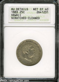 Coins of Hawaii: , 1883 Hawaii Quarter XF40--Scratched, Cleaned--ANACS, AU ...