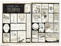 """Bill Ward (attributed) - Cracked #7 Two-page story """"Christmas Cards of Celebrities"""" Original Art (Globe, 1959)..."""