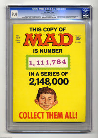 Mad #123 (EC, 1968) CGC NM 9.4 Off-white to white pages. Manufactured with three different known numbers on cover (1,111...