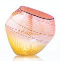 Glass, Dale Chihuly (American, b. 1941). Coral Basket with Golden Lip Wrap, 1998, Portland Press. Blown glass with acrylic disp... (Total: 2 Items)