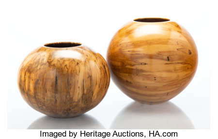 Philip Moulthrop (American, b. 1947) Two Bowls, circa 1990 Spalted silver maple, ashleaf maple 8 x 8-3/4 inches (20.3... (Total: 2 Items)