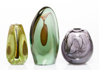 Dominick Labino (American, 1910-1987) Three Early Forms, 1969-1970 Blown glass 8-3/4 inches (22.2 cm) (tallest) Each...