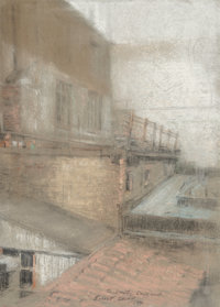 Everett Shinn (American, 1876-1953) Rooftops, 1942 Pastel on gray paper 12 x 8-1/2 inches (30.5 x