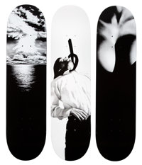 Robert Longo X Supreme Set of Three Skatedecks, 2011 Offset lithographs on skate decks 32 x 8 inc