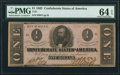 Confederate Notes:1862 Issues, T55 $1 1862 PF-7 Cr. 398 PMG Choice Uncirculated 64 EPQ.. ...