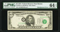 Error Notes:Shifted Third Printing, Shifted Third Printing Error Fr. 1973-A $5 1974 Federal Reserve Note. PMG Choice Uncirculated 64 EPQ.. ...