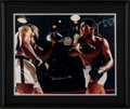 """Movie Posters:Sports, Mohammad Ali vs. Sonny Liston by Neil Leifer (c. 1980s). Very Fine. Autographed Framed Photo (25"""" X 21""""). Sports.. ..."""
