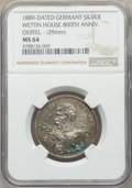 "German States:Saxony, German States: Saxony. Albert silver ""House of Wettin"" Medallic 2 Mark 1889 MS64 NGC,..."