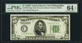 Small Size:Federal Reserve Notes, Fr. 1952-C $5 1928B Dark Green Seal Federal Reserve Note. PMG Choice Uncirculated 64 EPQ.. ...
