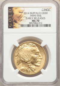 2014 $50 One-Ounce Gold Buffalo, Early Releases MS70 NGC. .9999 Fine Details. NGC Census: (4131). PCGS Population: (4564...