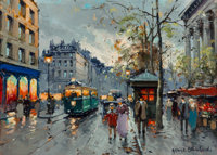 Antoine Blanchard (French, 1910-1988) Marché aux fleurs, Madeleine Oil on canvas 13 x 18-1/4 inch
