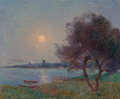 Paintings, Fernand Loyen du Puigaudeau (French, 1864-1930). La rivière au clair de lune. Oil on canvas. 21-1/4 x 25-5/8 inches (54....