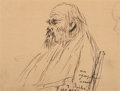 Works on Paper, Frédéric-Auguste Cazals (French, 1865-1941). Paul Verlaine. Pen and ink and pencil on paper. 3-7/8 x 4-5/8 inches (9.8 x...