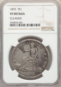 1875 T$1 -- Cleaned -- NGC Details. VF. Mintage 218,200....(PCGS# 7037)